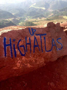 The hand-painted sign at the top of the Atlas Mountains