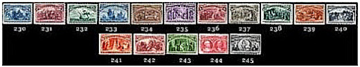 These stamps were issued in 1893 commemorating the Columbian World's Fair in Chicago.
