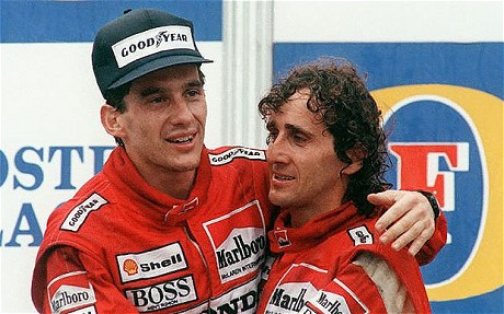 The film talks a lot about Senna's rivalry with team mate Alain Prost (right)