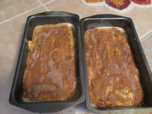 Pumpkin bread batter ready to be baked