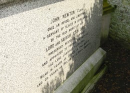 "Newton's Epitaph: ""Once an infidel and libertine, a servant of slaves in Africa, was, by the rich mercy of our Lord and Savior Jesus Christ, preserved, restored, pardoned, and appointed to preach the the faith he had long labored to destroy!"""