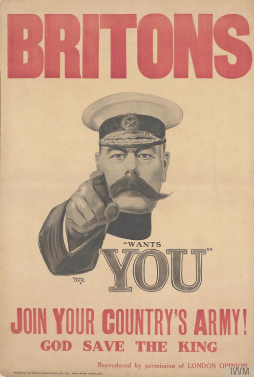This is perhaps the most famous poster from the First World War, and shows Field Marshal Lord Kitchener, appealing for people to join the British Army.  It was first produced in 1914, but has taken on a more iconic status since the war, when it was n