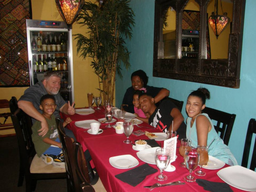 Dinner out with my sister and her family, Grand Cayman, Summer 2013