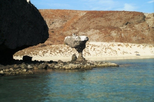 "The ""Mushroom Rock"" in Balandra Bay, La Paz"