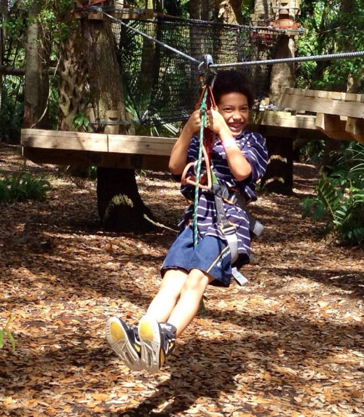 Zip-lining at Brevard Zoo, Florida
