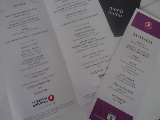 Turkish Airlines presents a printed menu with the choices set out for the meals.