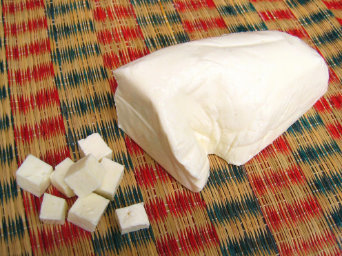 Paneer, a simple Indian handcrafted cheese.