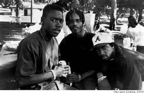 Tyrin Turner, Larenz Tate and MC Eiht.  MC Eiht basically played the same character in Menace II Society and Boyz N the Hood.