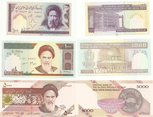 Iranian banknotes depicting images of their supreme leader as well as beautiful Iranian architecture and ceramic design.