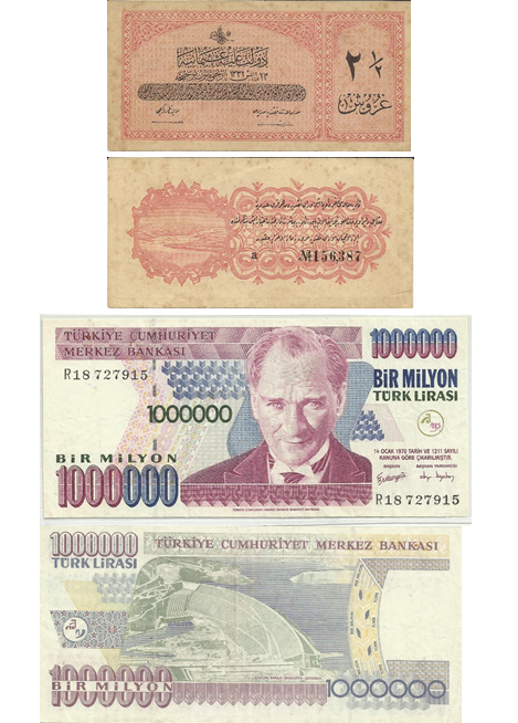 An uncommon Ottoman Empire note which held a value of 2.5 Ghurosh in Arabic in contrast to a Turkish 1 million Lira banknote with the image of Mustafa Kemal Ataturk, the founding father of Modern Turkey.