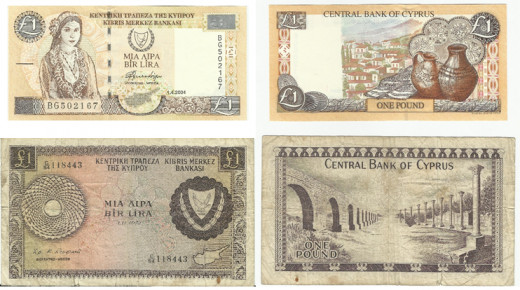 Banknotes from Cyprus which I acquired during my travels there.