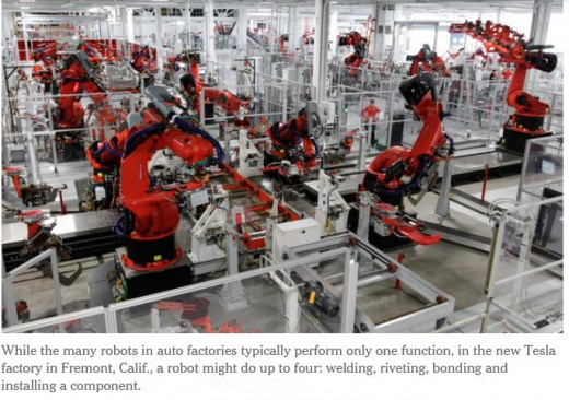 Click link to read article. Tesla robots do welding, riveting, bonding and install components.