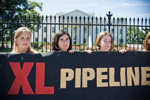 People protesting the proposed Keystone XL pipeline in front of the White House in 2011.