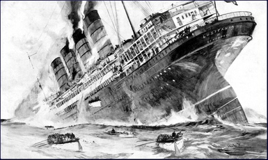 The sinking of the Lusitania by a German submarine on May 7, 1914 gains huge American press