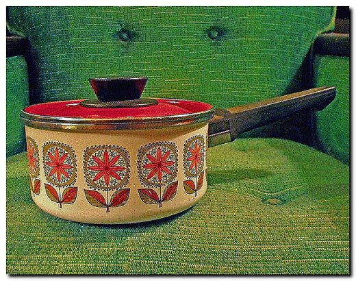 Vintage cookware can add colour to a plain kitchen