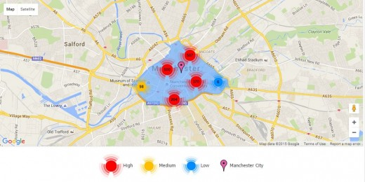 This shows the Manchester city areas crime rating.