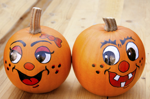 Painted pie pumpkins or ornamental squash make long lasting decorations.