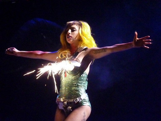 "Lady Gaga performing ""Paparazzi"" on The Monster Ball Tour in Atlantic City, 19 February 2011."
