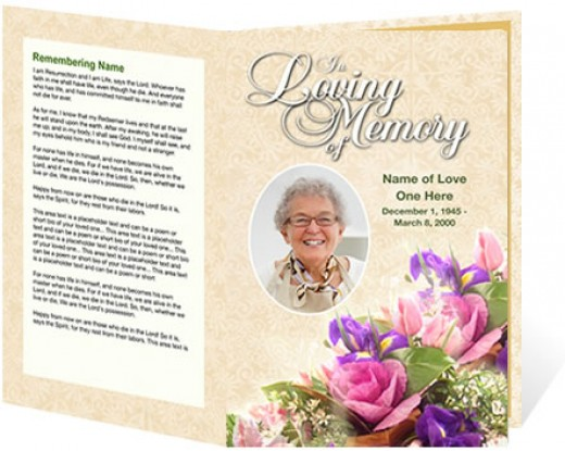 A beautiful example of a funeral program layout from The Funeral Program Site resource on the web.