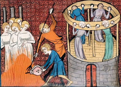 Notice there are men torturing and executing female witches in this Medieval Miniature.