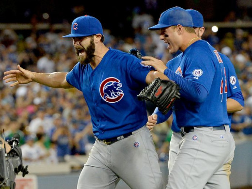 Ace Jake Arrieta celebrating his no hitter against the Dodgers earlier this year