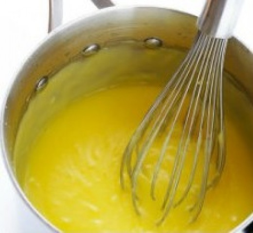 cooked lemon filling is thickened and ready to pour into prepared pie crust