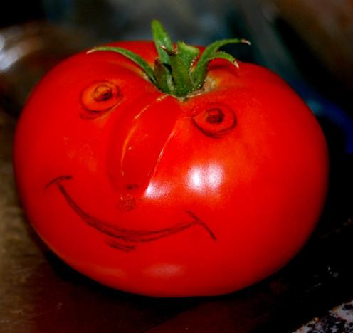 Happy Tomato Ready to Be Juiced