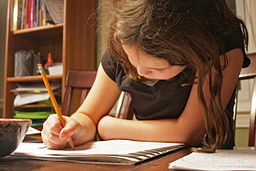 A child doing her homework