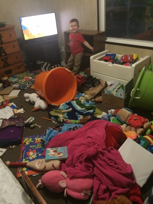 Never leave your toddler alone in his room for 15 minutes while you finish a blog in the living room.  Just don't do it.