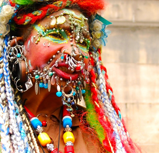 Front shot of Elaine Davidson, the most pierced woman in the world, according the Guinness Book of World Records.