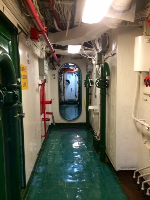One of the  many corridors or halls, on the USS Midway.  It was very inspiring to walk through all the different areas.