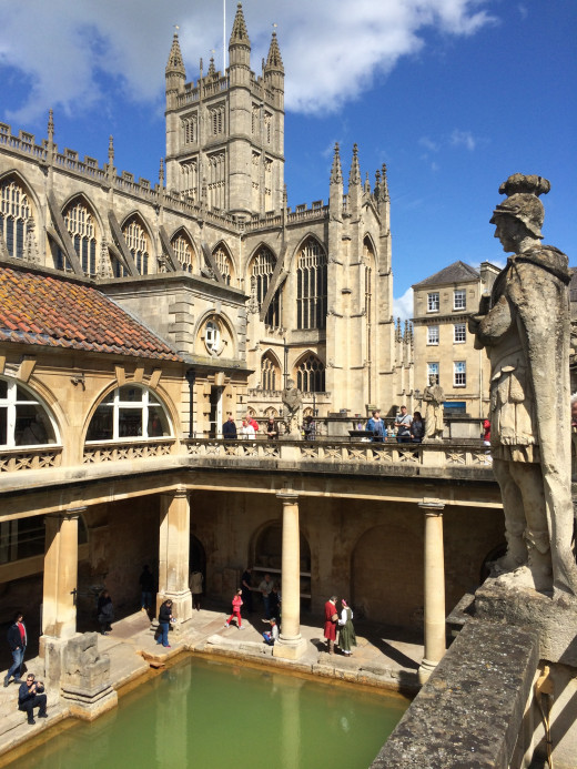 View of Bath Abbey from the Roman Baths.