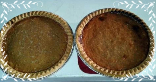Fresh baked pies-- ready to top with whipped cream and enjoy.