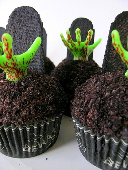 Creepy Undead Creature Hand Chocolate Cupcakes for Halloween