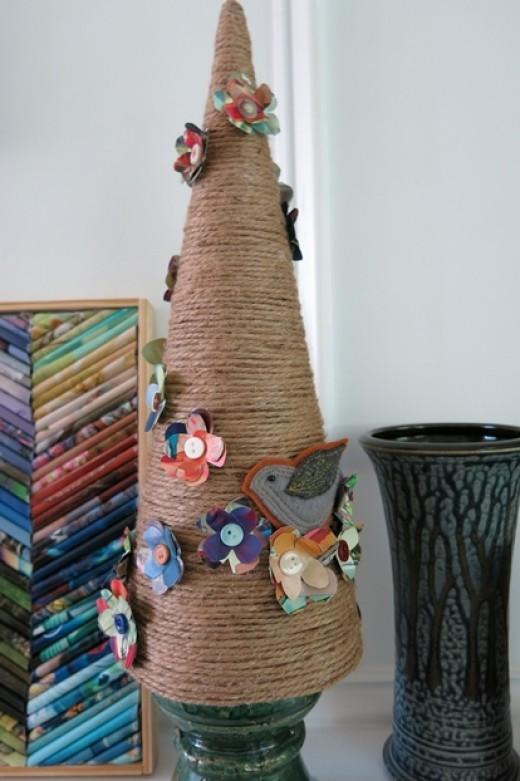 Vintage Inspired Handmade Tree with Flowers