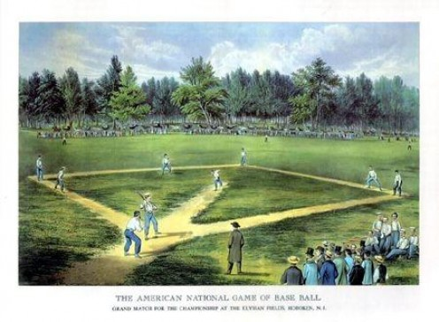 The American National Game of Baseball. c.1866 Elysian Fields, Hoboken NJ. This is where most early baseball was played.