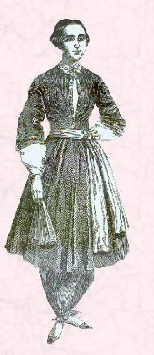 Women in Pants: Amelia Bloomer Circa 1851 Where once women in trousers seemed ridiculous, slacks can now be viewed as attractive