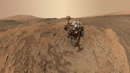 NASA's Curiosity rover took dozens of images that together made a selfie in January on the Mount Sharp area of Mars. NASA/JPL-Caltech/MSSS via Getty Images