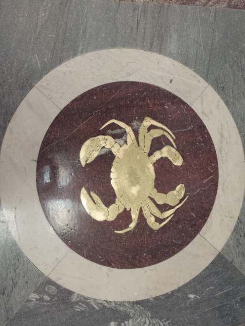 All 12 zodiac signs, in bronze, are set into the polished marble floor beneath the rotunda of the Library of Congress, Washington, D.C.