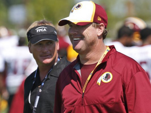 Is Washington Redskins Head Coach Jay Gruden (R) looking over his shoulder at his brother Jon Gruden (L)?