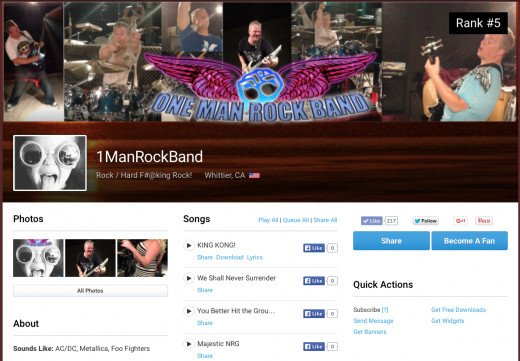 1ManRockband ReverbNation Page.