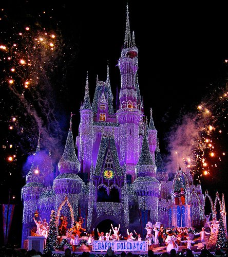 Cinderellas castle during Christmas time