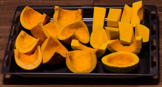 Pumpkins and squash ready to be baked and pureed!