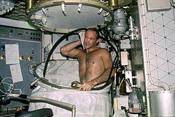 An astronaut showering