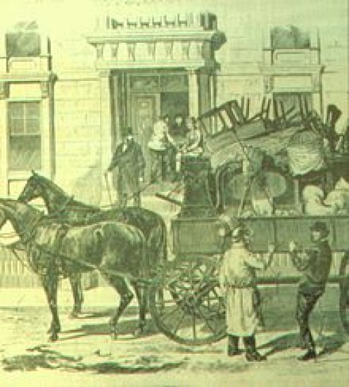 This is what a moving company looked like in the early 1835 in Montreal. The idea has been around for hundreds of years.