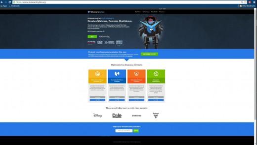 The MalwareBytes webpage