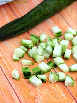 Chop the ridge gourd into small rectangular cubes as shown in the picture.