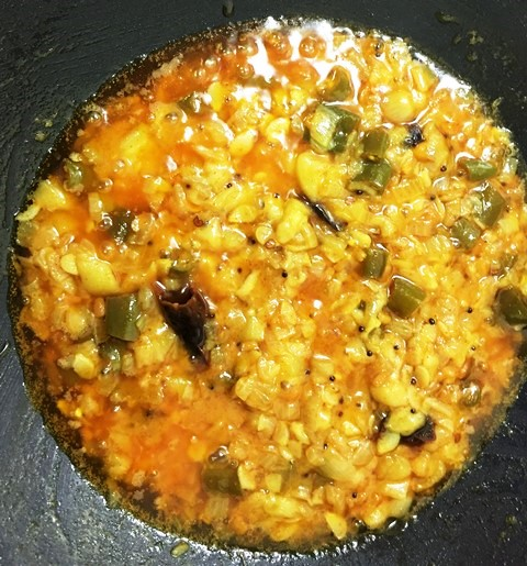 This is how the ridge gourd curry  looks when it is done.