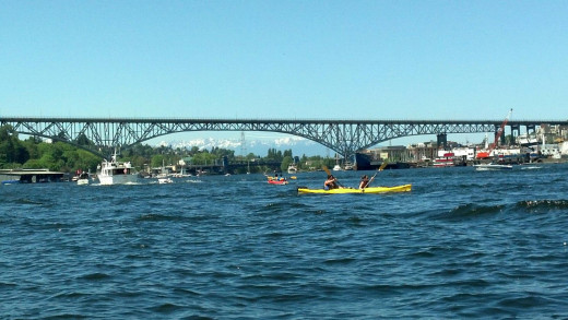 Kayaking Lake Union with the Olympic Mountain Range in the background