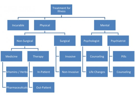This is the diagram developed by James based on his understanding of treatments of illnesses.